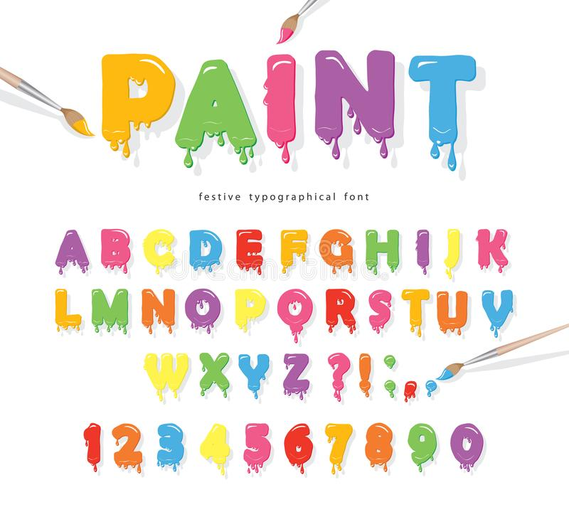 Fonte colorida do fluxo da pintura Letras engraçadas bonitos e números dos desenhos animados ilustração do vetor