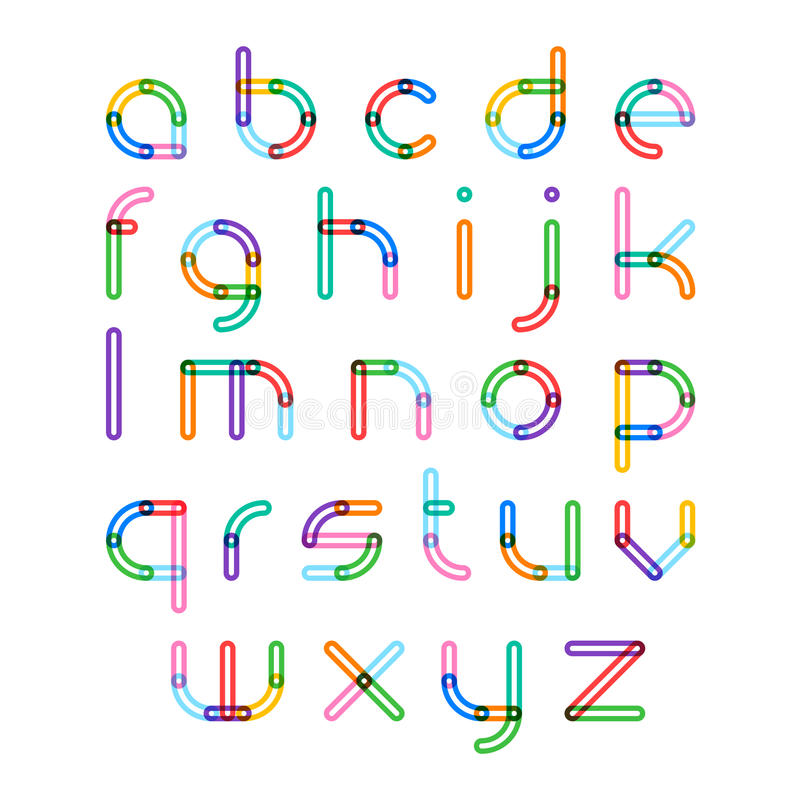 Fonte colorida, letras do alfabeto ilustração stock