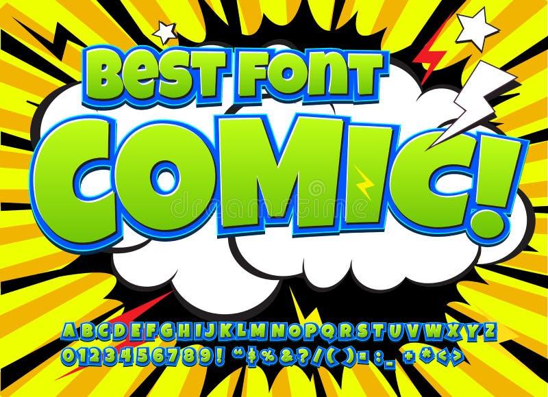Fonte comica dell'alto dettaglio creativo Alfabeto dei fumetti, Pop art illustrazione di stock
