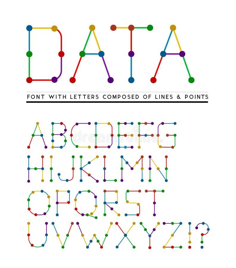 Fonte con le lettere composte di linee e di punti illustrazione vettoriale