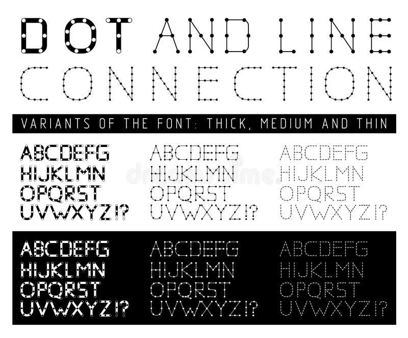 Fonte con le lettere composte di linee e di punti royalty illustrazione gratis