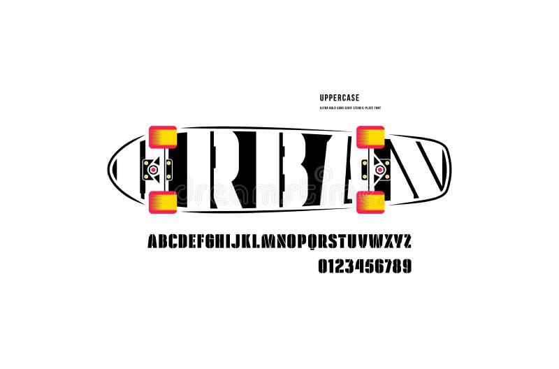Fonte conservada em estoque de Sans Serif da estêncil-placa do vetor, alfabeto, tipografia ilustração royalty free