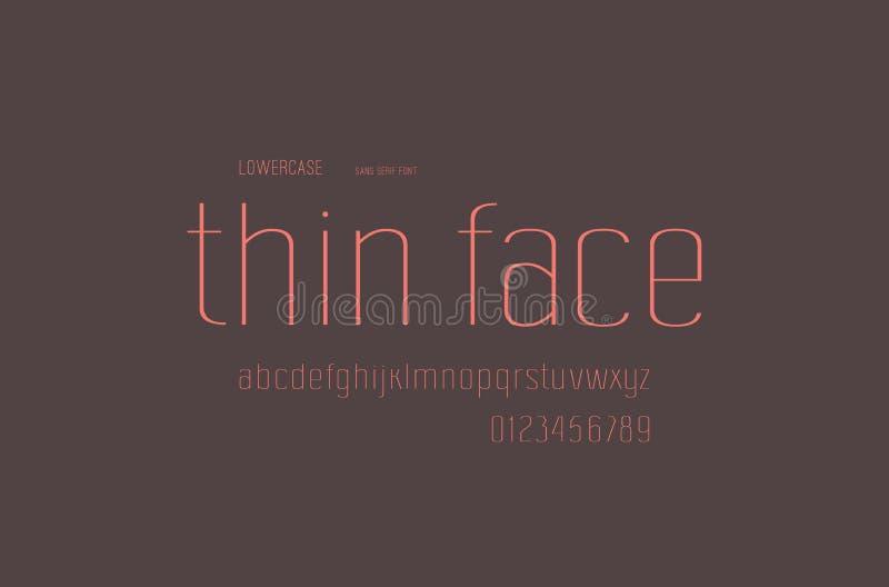 Fonte conservada em estoque de Sans Serif do vetor, alfabeto, tipografia ilustração stock