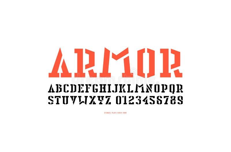 Fonte conservada em estoque do serif da estêncil-placa do vetor ilustração stock