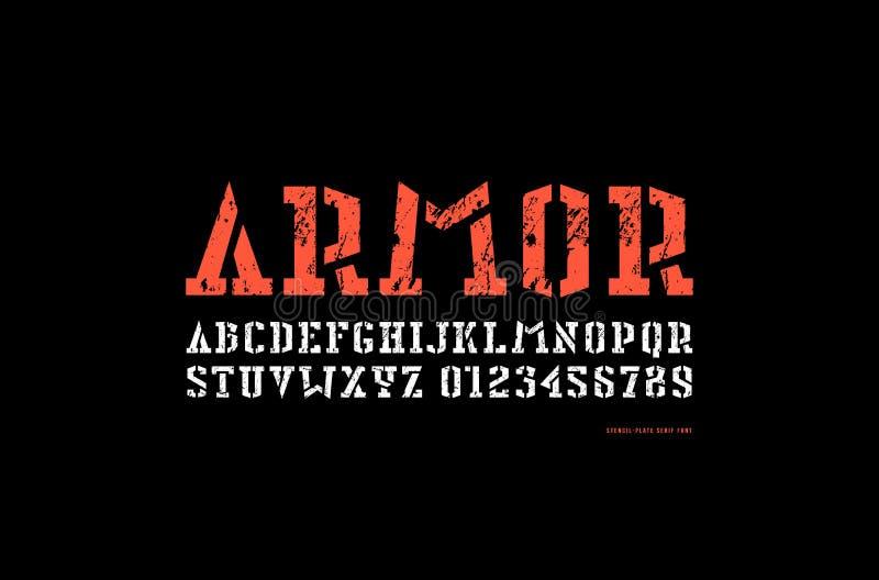 Fonte conservada em estoque do serif da estêncil-placa do vetor no estilo militar ilustração royalty free