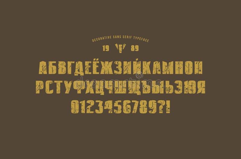 Fonte contínua original de Sans Serif ilustração stock