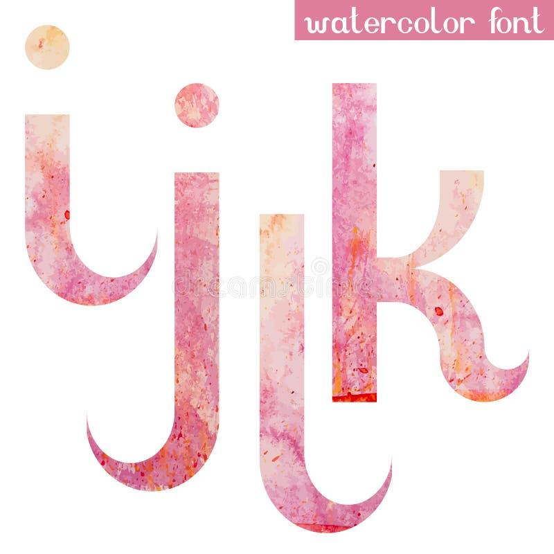 A fonte cor-de-rosa da aquarela da mola rotula I J K L ilustração stock