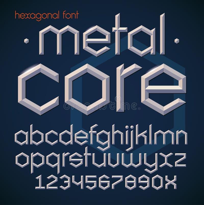 Fonte corajosa chanfrada metálica futurista sextavada Alfabeto, letras inglesas e números no estilo geométrico moderno ilustração do vetor