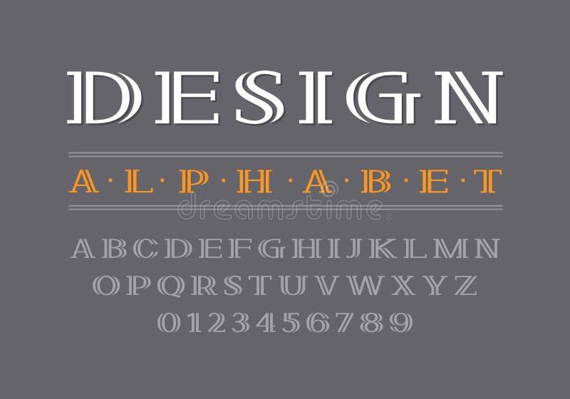 Fonte corajosa decorativa do serif Letras e números de caixa ilustração do vetor