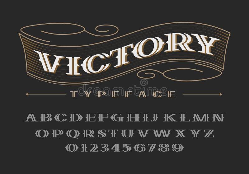 Fonte corajosa decorativa do serif Letras e números de caixa ilustração stock