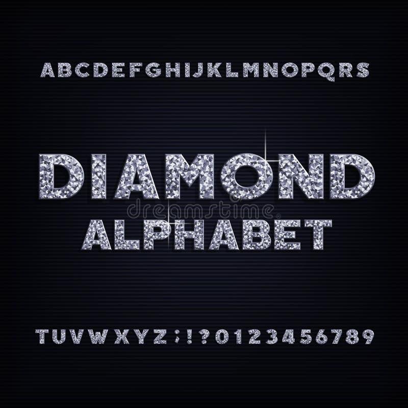 Fonte corajosa do alfabeto de cristal do diamante Letras e números luxuosos da joia ilustração do vetor