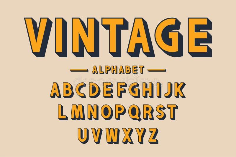 Fonte corajosa retro e alfabeto Letras fortes com sombras longas no estilo do vintage Tipografia retro ilustração royalty free