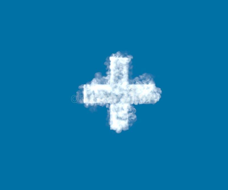 Fonte creativa della nuvola, più nuvoloso bianco isolata sui precedenti del cielo blu - illustrazione 3D dei simboli royalty illustrazione gratis