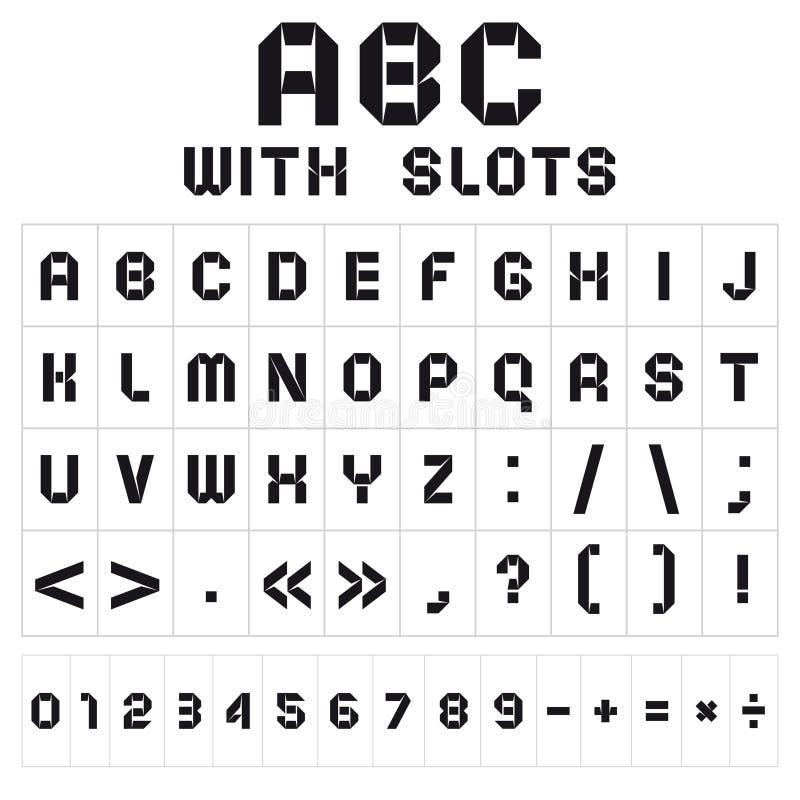 Fonte d'ABC avec des fentes, noires sur le fond blanc illustration stock