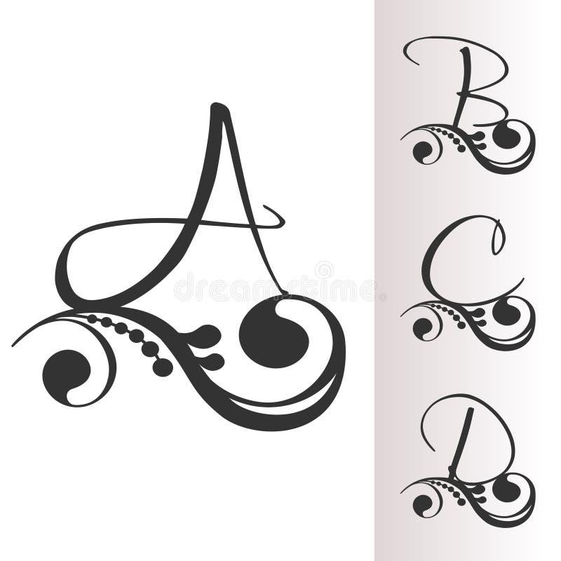 Fonte d'annata con la decorazione - insieme 1 Lettera iniziale capitale A, B, C, D per i monogrammi e logos Alfabeto vittoriano d illustrazione di stock