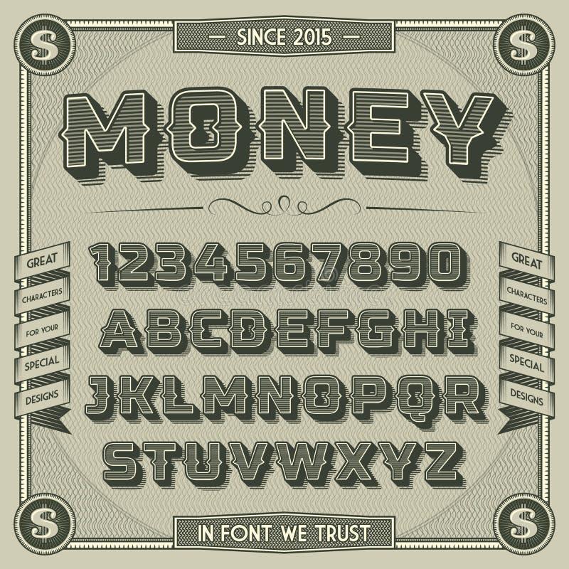 Fonte d'annata dei soldi con ombra royalty illustrazione gratis