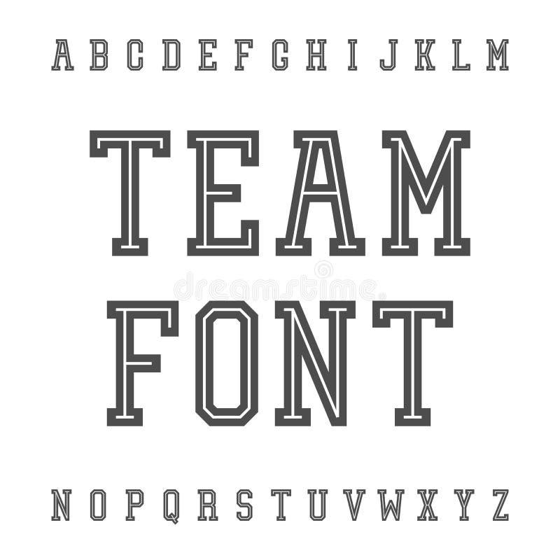 Fonte d'annata Lastra Serif Retro Typeface Università Team Style illustrazione vettoriale