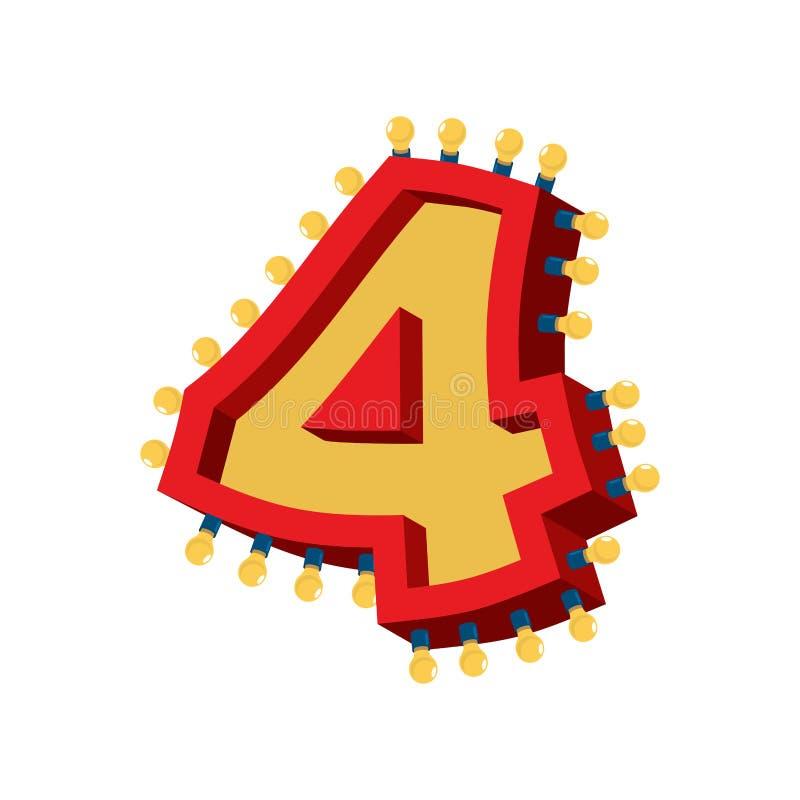 Fonte d'ardore della lampada di numero 4 Fou d'annata del segno di alfabeto della lampadina illustrazione di stock