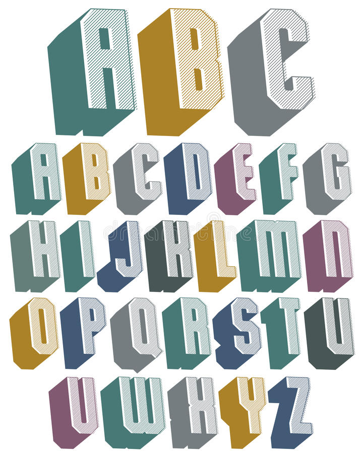 fonte 3d com bom estilo, alphabe geométrico dado forma simples das letras ilustração do vetor
