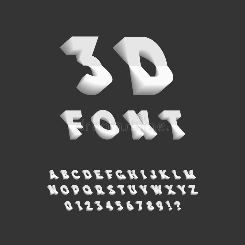 fonte 3D Plastique sans Serif Typeface Lettres, nombres, Punctuat illustration libre de droits