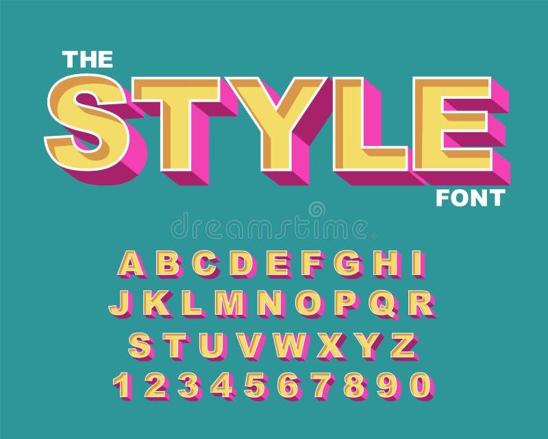 fonte 3d retro corajosa Vetor 80 s do alfabeto do vintage, cartaz gráfico do estilo antigo de 90 s ilustração royalty free