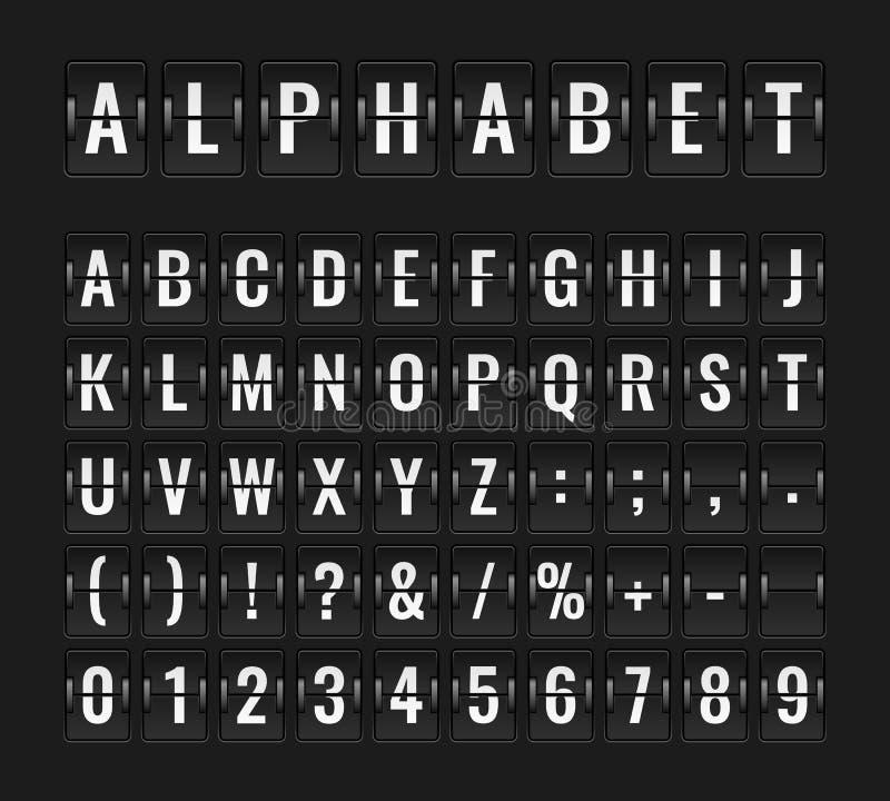 Fonte da aleta O alfabeto da linha aérea dos aviões do destino da partida do painel de informação da placa do voo do aeroporto ch ilustração stock