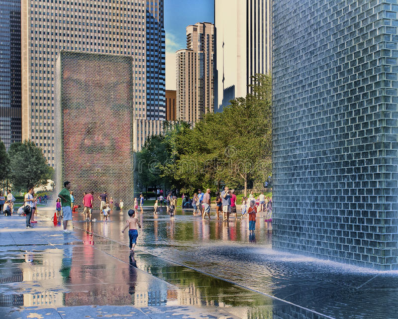 Fonte da coroa, parque do milênio, Chicago foto de stock royalty free