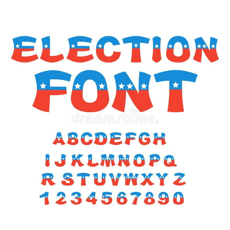 Fonte da eleição Debate político no alfabeto de América EUA Nationa ilustração do vetor