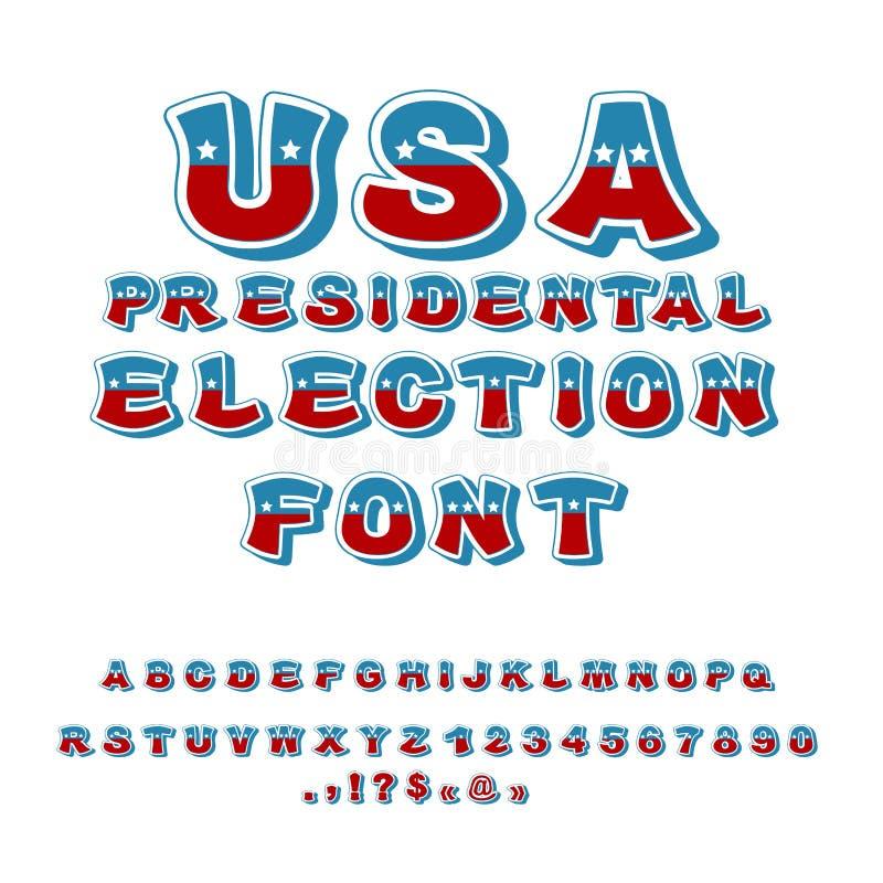Fonte da eleição presidencial dos EUA Debate político na alfa de América ilustração royalty free