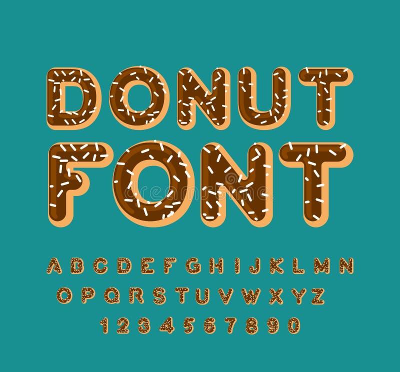 Fonte da filhós alfabeto da torta Cozido em letras do óleo Crosta de gelo do chocolate ilustração royalty free
