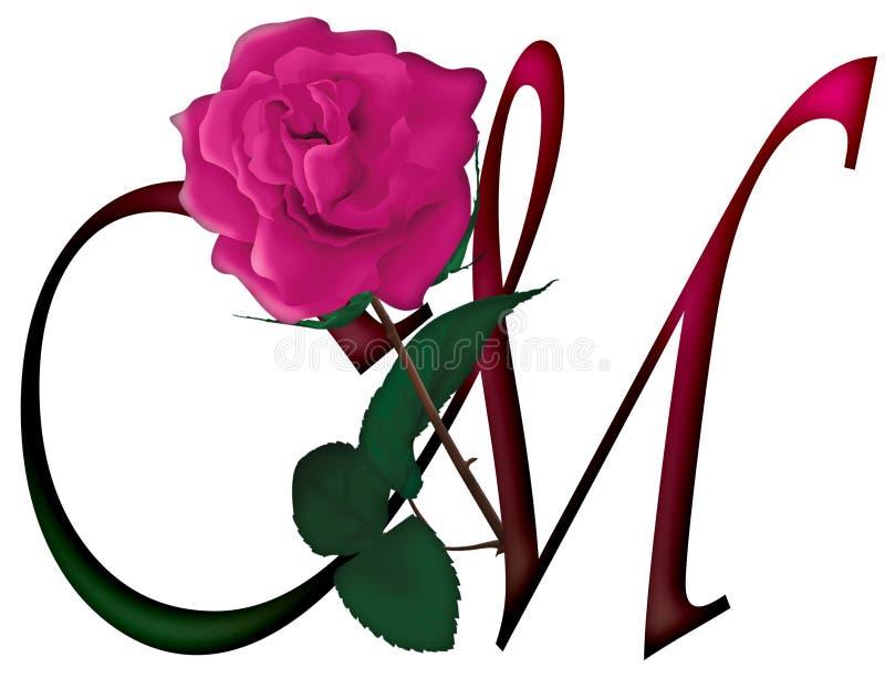 FONTE da letra M Floral ilustração do vetor