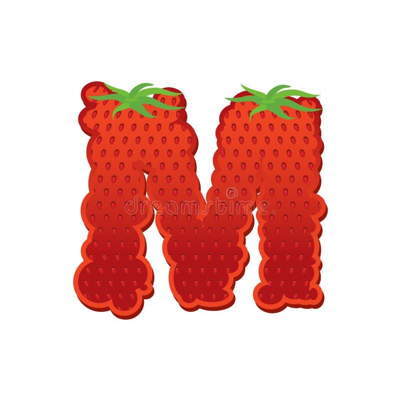 Fonte da letra M Strawberry Alfabeto vermelho da rotulação da baga Frutifica A ilustração do vetor