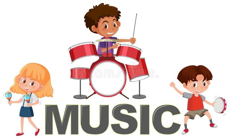 Fonte da música e caráter das crianças ilustração stock