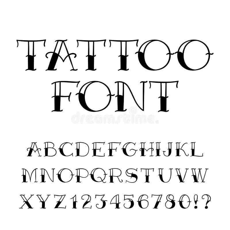 Fonte da tatuagem Alfabeto do estilo do vintage Letras e números ilustração royalty free