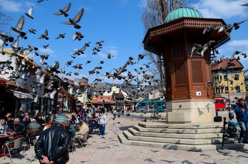 Fonte de água de madeira de Sebilj do otomano em Sarajevo Bascarsija Bósnia fotos de stock royalty free