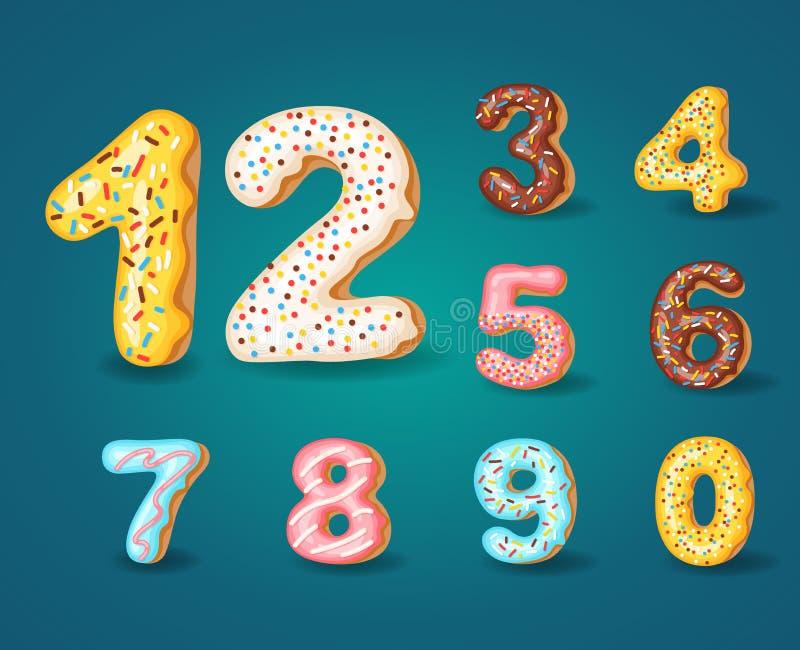 Fonte de anéis de espuma Alfabeto doce da padaria Estilo de congelamento 0,1,2,3,4,5,6,7,8,9 das cores da filhós dos números do a ilustração royalty free
