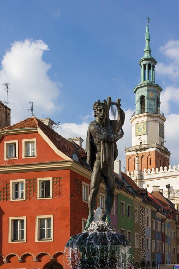 Fonte de Apollo s. Poznan. Poland imagem de stock royalty free