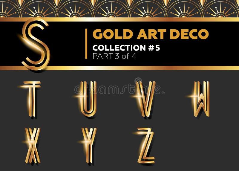 Fonte de Art Deco 3D do vetor Alfabeto retro de brilho do ouro imagem de stock royalty free