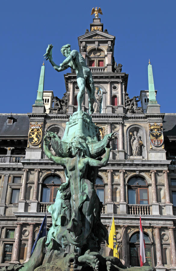 Fonte de Brabo, Grote Markt, Antwerpen, Bélgica imagens de stock