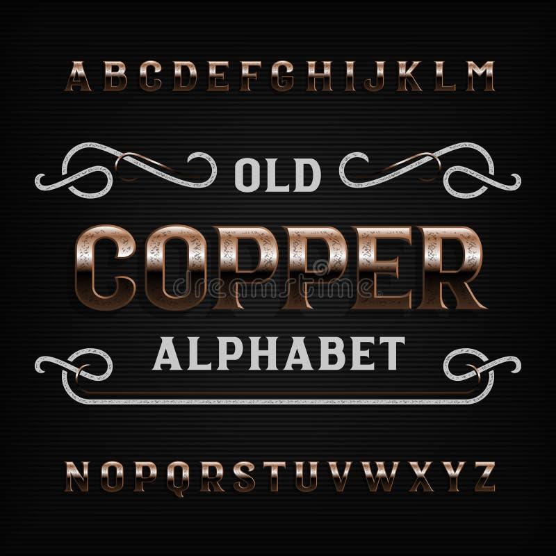 Fonte de cobre idosa do alfabeto Letras riscadas vintage do metal ilustração do vetor