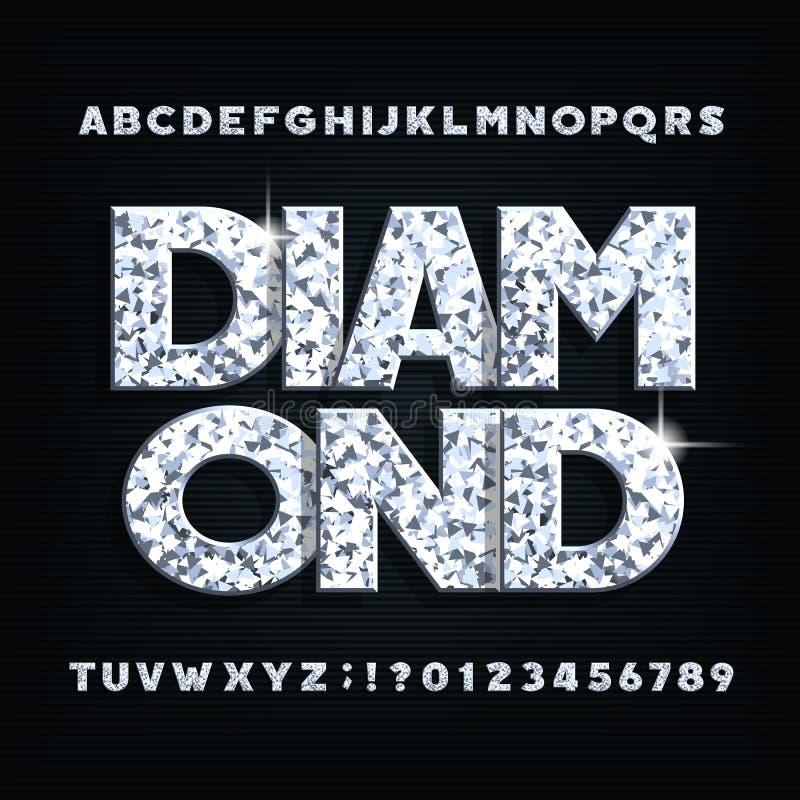 Fonte de cristal do alfabeto do diamante Letras brilhantes ornamentado, números e símbolos ilustração stock