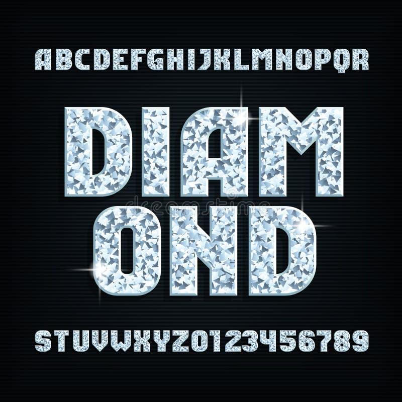 Fonte de cristal do alfabeto do diamante Letras e números brilhantes brilhantes ilustração do vetor
