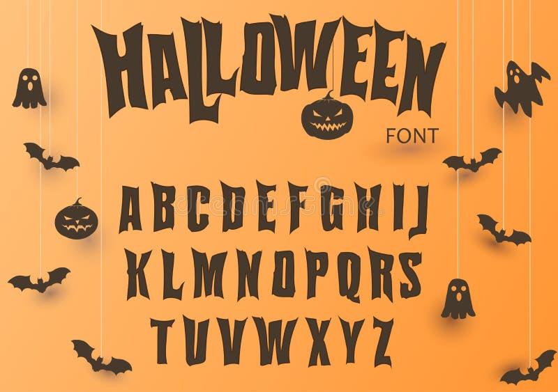 Fonte de Dia das Bruxas, caráter tipo original, alfabeto assustador assustador, letras sujas, para a festa natalícia Vetor ilustração stock