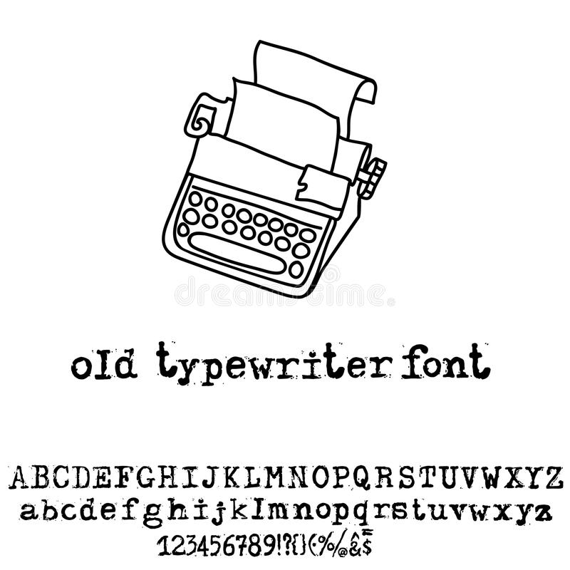 Fonte de máquina de escrever velha do vetor Fonte do grunge do vintage Ilustração do vetor ilustração stock