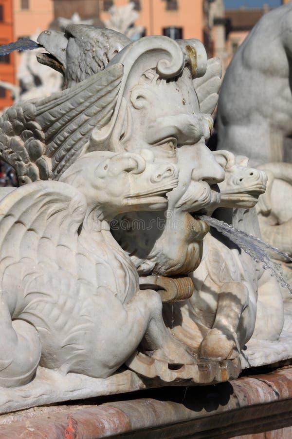 Fonte de mármore no quadrado de Navona, Roma imagem de stock