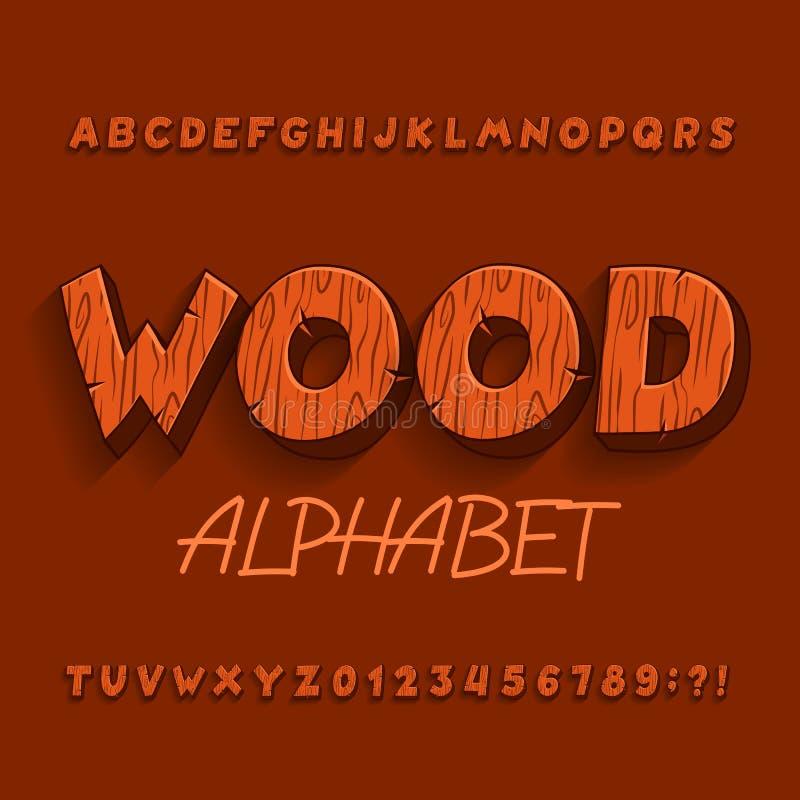 Fonte de madeira do alfabeto dos desenhos animados Letras, números e símbolos com sombra ilustração royalty free