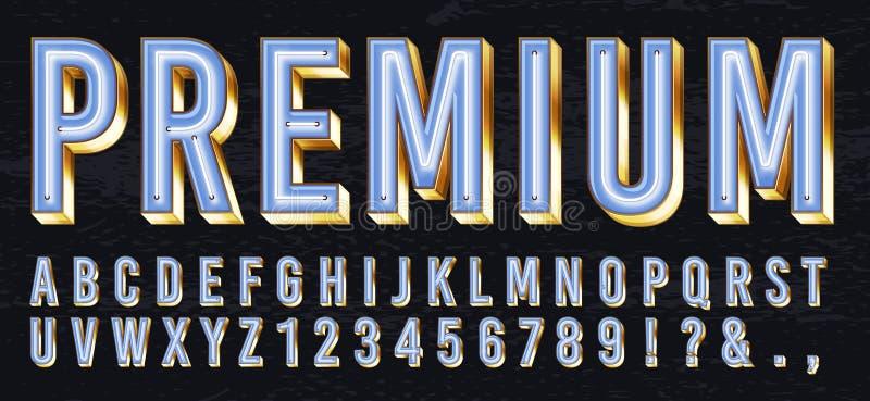 Fonte de néon da caixa leve Letras de incandescência superiores, alfabeto dourado e rotulação do ouro da elite com vetor das luze ilustração stock