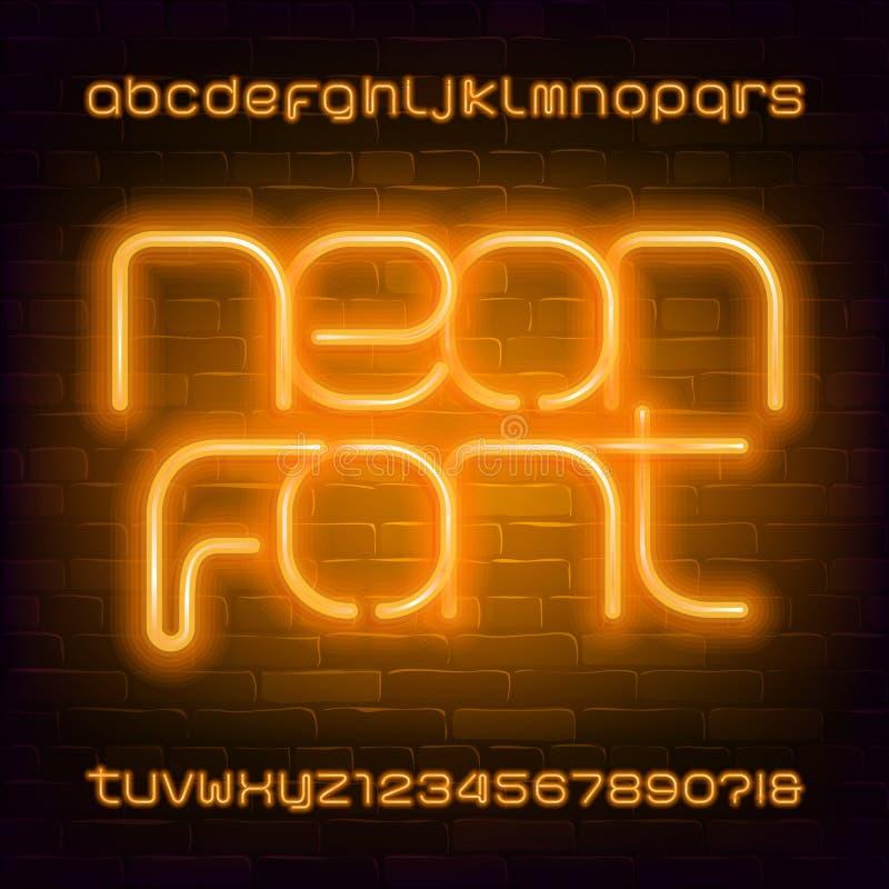 Fonte de n?on amarela do alfabeto Letras minúsculas modernas e números da ampola Fundo da parede de tijolo ilustração do vetor