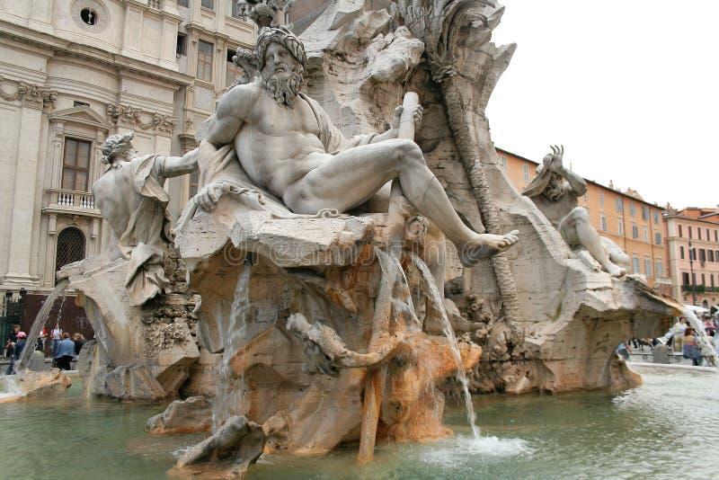 Fonte de Navona da praça, Roma fotos de stock