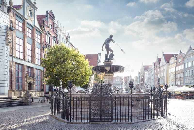 A fonte de Netuno em Gdansk foto de stock